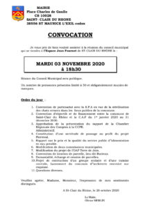 Conseil municipal du mardi 03 novembre.